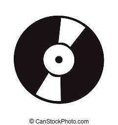 illustration, enregistrement, vecteur, retro, vinyle, icône