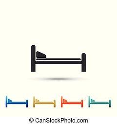 illustration, ensemble, couleur, hôpital, isolé, lit, arrière-plan., vecteur, icons., blanc, éléments, icône