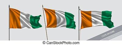 illustration, ensemble, drapeau, fond, isolé, cote, vecteur,...