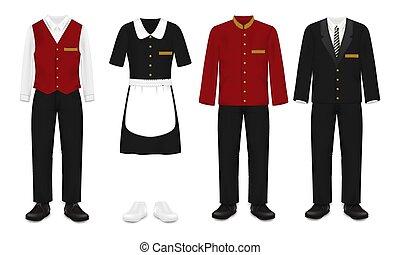 illustration, ensemble, hôtel, isolé, uniforme, vecteur, personnel