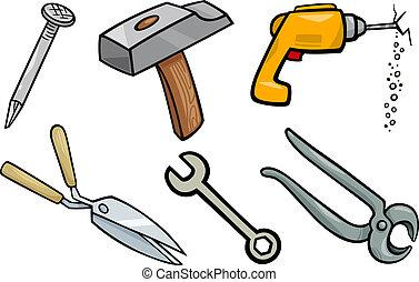 illustration, ensemble, outils, dessin animé, objets