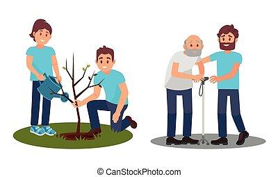 illustration, ensemble, portion, gens, planter, vecteur, personne agee, plant, caractères