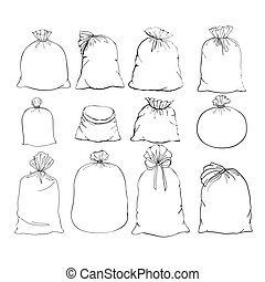 illustration, ensemble, vector., bag., toile, sac, sack.