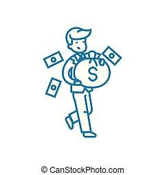 illustration., entrepreneur, réussi, concept., symbole, signe, vecteur, ligne, icône, linéaire