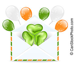 Illustration envelope with clover and colorful ballons isolated on white background  for St. Patrick's Day - vector