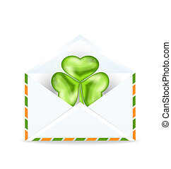 Illustration envelope with clover isolated on white background  for St. Patrick's Day - vector