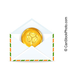 envelope with golden coin for St. Patrick's Day