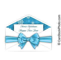 Envelope with Greeting Card and Blue Bow Ribbon for Merry Christmas