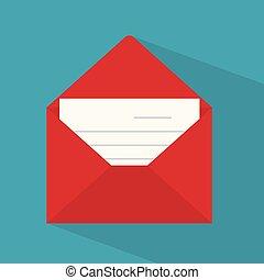illustration, enveloppe, rouges, icon-, vecteur, lettre