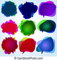 illustration., eps, bubbles., toespraak, 8, origineel