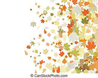 illustration., eps, hojas, atumnall, tibio, 8