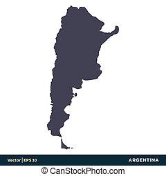 illustration, eps, sud, vecteur, amérique, -, design., logo, icône, pays, argentine, 10., carte, gabarit