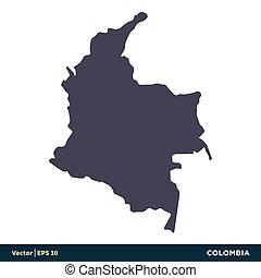 illustration, eps, sud, vecteur, amérique, -, design., logo, icône, pays, colombie, 10., carte, gabarit