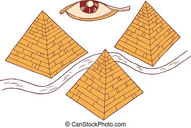 illustration, eps, vecteur, pyramides, 10, egypte, symboles