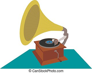 illustration, eps, vektor, retro, grammofon, 10