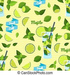 illustration, eps10., pattern., seamless, vecteur, mojito