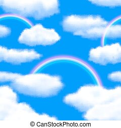 illustration, eps10, sky, seamless, vektor, rainbow., bakgrund, editable