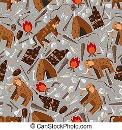 illustration., era., プリミティブ, paleolithic, マンモス, ベクトル, テント, 年齢, たき火, 平ら, 武器, 年齢, 単純である, 氷, シンボル, saber-toothed, 石, アイコン, スタイル, パターン, tiger, seamless