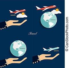 illustration., erdball, modern, vektor, halten hände, plane.