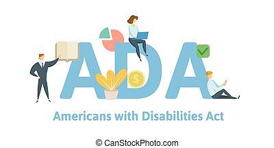 illustration., erwerbsunfähigkeit, hintergrund., vektor, keywords, ada, briefe, amerikaner, freigestellt, weißes, wohnung, begriff, act., icons.