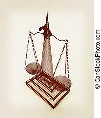illustration., escalas, vendimia, justice., style., 3d