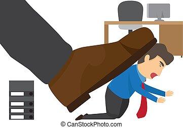 illustration., escritório., sob, oprimido, saliência, vetorial, sapato, grande, homem negócios
