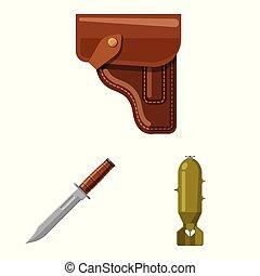 illustration., esercito, arma, fucile, collezione, vettore, disegno, icon., casato