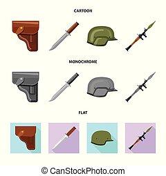 illustration., esercito, arma, fucile, collezione, vettore, disegno, logo., casato