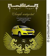 illustration., esküvő, köszönés, vektor, meghívás, kártya, card.