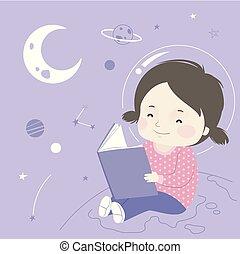 illustration espace, livre, girl, astromomie, gosse