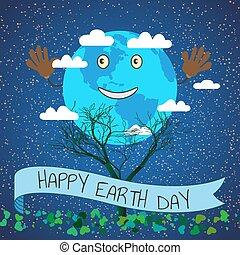 illustration espace, planète, jour, vecteur, la terre, dessin animé