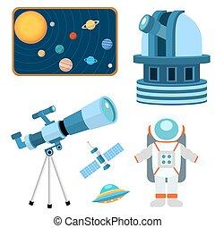 illustration., espacio, universo, iconos, señal, planeta, ...