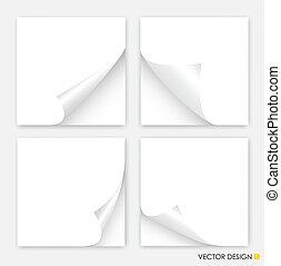 illustration., esquinas, colección, vector, papeles, blanco,...