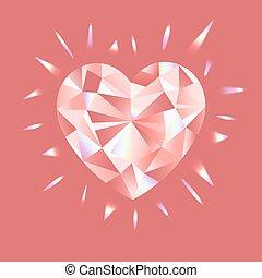 illustration, essentiels, rose, vecteur, arc-en-ciel, diamant