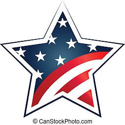 illustration., estados unidos de américa, símbolo, des, bandera, vector, elección, 2016, icono