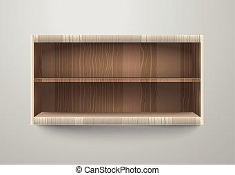 illustration., estantes, contenido, vector, plantilla, vacío