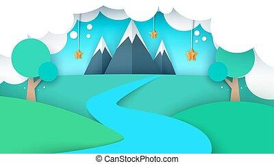 illustration., estrela, rio, árvore, papel, field., montanha, caricatura, paisagem