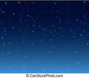 illustration., estrellado, papel pintado, cielo, plano de ...