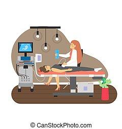 illustration., examen, doctora, abdominal, plano, vector, exploración del ultrasonido, paciente, médico