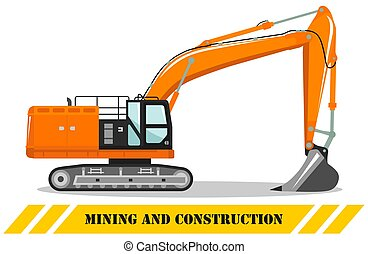 illustration., excavator., equipment., 机器, 详尽, 建设, 描述, 矢量, 重, 采矿