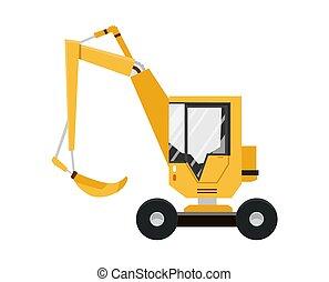 illustration., excavator., equipment., isolado, amarela, machinery., experiência., vetorial, construção, branca, especiais
