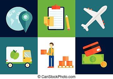 illustration., expédition, vecteur, exportation, fruits, importation, transport