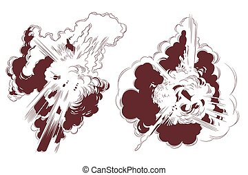illustration., explosiones, acción