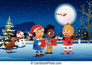 illustration, extérieur, pendant, noël, enfants, chant, saison