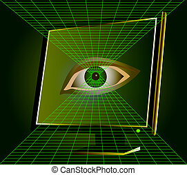 eye watches from monitor of the computer