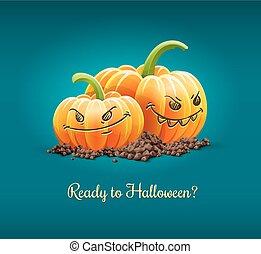 illustration., fâché, halloween, vecteur, potirons, vacances