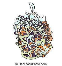 illustration., färgrik, pattern., hand, vektor, hav, oavgjord, doodles, tecknad film, våg, style.