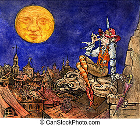 illustration, för, saga, berättelse