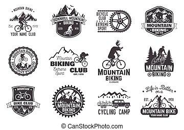 illustration., faire vélo, vecteur, collection., montagne