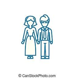 illustration., família, sinal, concept., símbolo, vetorial, linha, ícone, amigável, linear